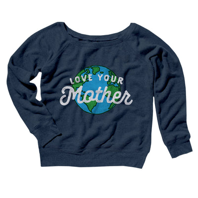 Love Your Mother Earth Women's Off The Shoulder Sweatshirt-Navy TriBlend - Famous IRL