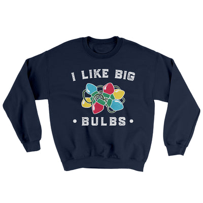 I Like Big Bulbs Men/Unisex Ugly Sweater-Navy - Famous IRL