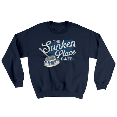 The Sunken Place Cafe Ugly Sweater-Sweatshirt-Printify-Navy-S-Famous IRL