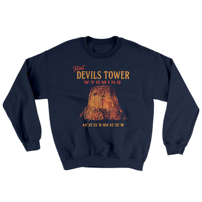 Visit Devils Tower Ugly Sweater-Sweatshirt-Printify-Navy-S-Famous IRL