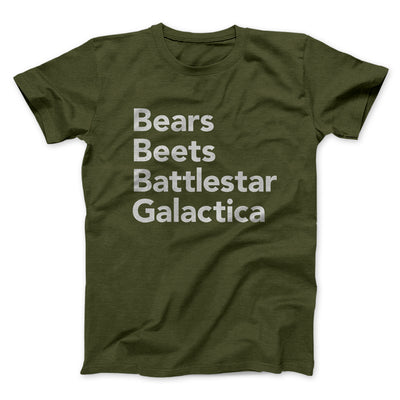 Bears, Beets, Battlestar Galactica Men/Unisex T-Shirt - Famous IRL Funny and Ironic T-Shirts and Apparel