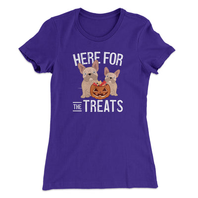 Here For The Treats Women's T-Shirt-Women's T-Shirt-White Label DTG-Purple Rush-S-Famous IRL