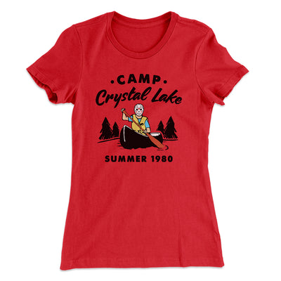 Camp Crystal Lake Women's T-Shirt-Solid Red - Famous IRL