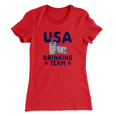 USA Drinking Team Women's T-Shirt-Solid Red - Famous IRL