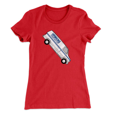 Hawkins Power and Light Van Women's T-Shirt-Solid Red - Famous IRL