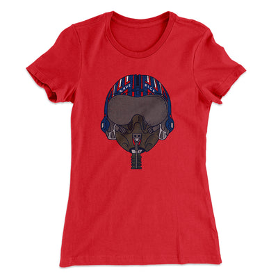 Maverick Helmet Women's T-Shirt-Solid Red - Famous IRL