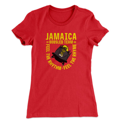 Jamaica Bobsled Team Women's T-Shirt-Solid Red - Famous IRL