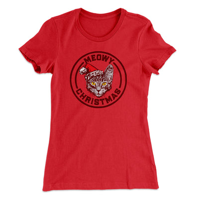 Meowy Christmas Women's T-Shirt-Solid Red - Famous IRL