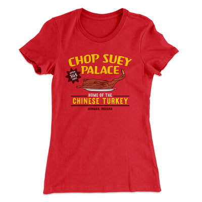 Chop Suey Palace Women's T-Shirt-Solid Red - Famous IRL