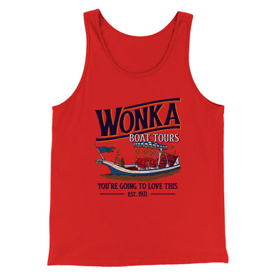 Wonka Boat Tours Men/Unisex Tank Top-Men/Unisex Tank Top-White Label DTG-Red-S-Famous IRL