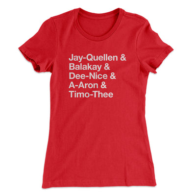 Substitute Teacher Names Women's T-Shirt-Solid Red - Famous IRL