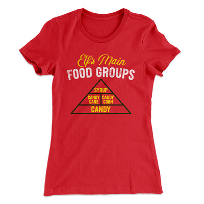 Elf Food Groups Women's T-Shirt-Solid Red - Famous IRL