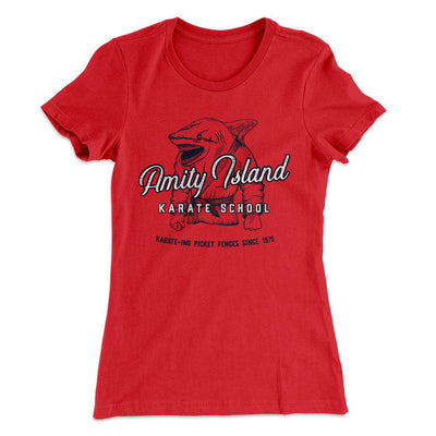 Amity Island Karate School Women's T-Shirt-Solid Red - Famous IRL