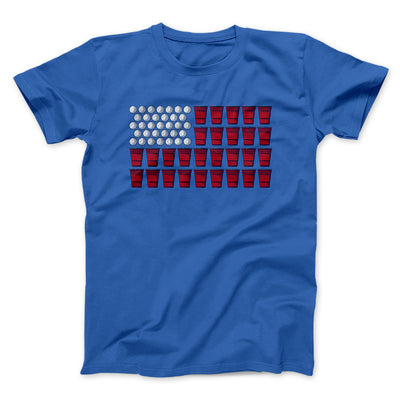 Beer Pong American Flag Men/Unisex T-Shirt-T-Shirt-Printify-True Royal-S-Famous IRL