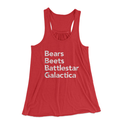 Bears, Beets, Battlestar Galactica Women's Flowey Racerback Tank Top - Famous IRL Funny and Ironic T-Shirts and Apparel