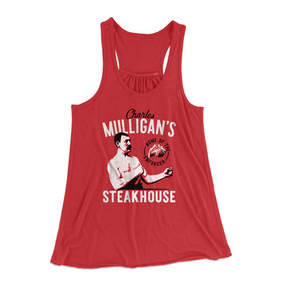 Charles Mulligan's Steakhouse Women's Flowey Racerback Tank Top-Red - Famous IRL