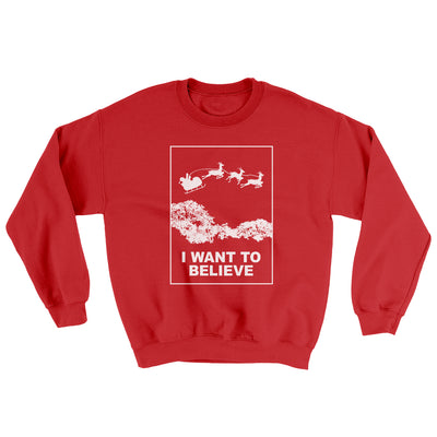 I Want to Believe Men/Unisex Ugly Sweater-Red - Famous IRL