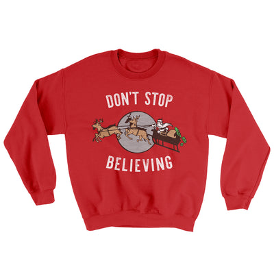 Don't Stop Believing Men/Unisex Ugly Sweater-Red - Famous IRL