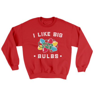 I Like Big Bulbs Men/Unisex Ugly Sweater-Red - Famous IRL