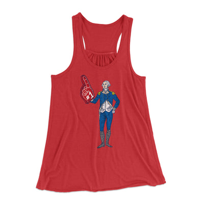 George Washington #1 Women's Flowey Racerback Tank Top-Red - Famous IRL