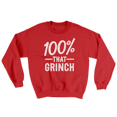 100% That Grinch Ugly Sweater-Ugly Sweater-White Label DTG-Red-S-Famous IRL