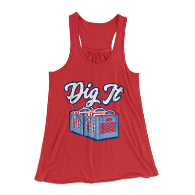 Dig It - Record Crate Women's Flowey Racerback Tank Top-Red - Famous IRL