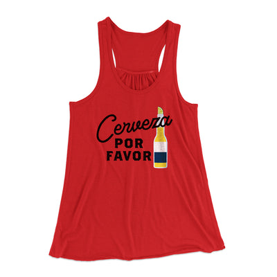 Cerveza, Por Favor Women's Flowey Tank Top-Women's Flowey Racerback Tank Top-White Label DTG-Red-XS-Famous IRL