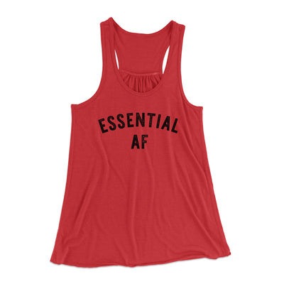 Essential AF Women's Flowey Tank Top-Women's Flowey Racerback Tank Top-White Label DTG-Red-XS-Famous IRL