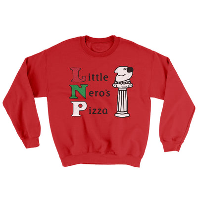 Little Nero's Pizza Men/Unisex Ugly Sweater-Red - Famous IRL
