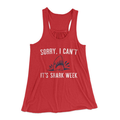 Sorry I Can't It's Shark Week Women's Flowey Racerback Tank Top-Red - Famous IRL