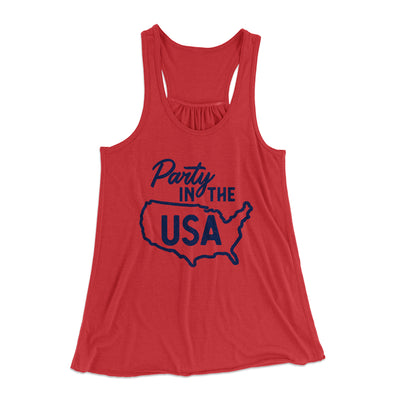 Party in the USA Women's Flowey Racerback Tank Top-Red - Famous IRL