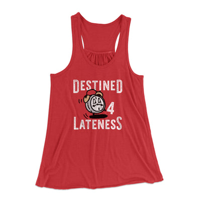 Destined for Lateness Women's Flowey Racerback Tank Top-Red - Famous IRL
