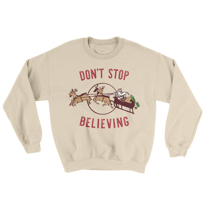Don't Stop Believing Men/Unisex Ugly Sweater-Sand - Famous IRL