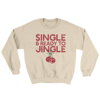Single and Ready to Jingle Men/Unisex Ugly Sweater-Sand - Famous IRL