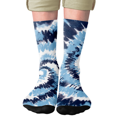 Carolina Blue Tie Dye Adult Crew Socks- - Famous IRL