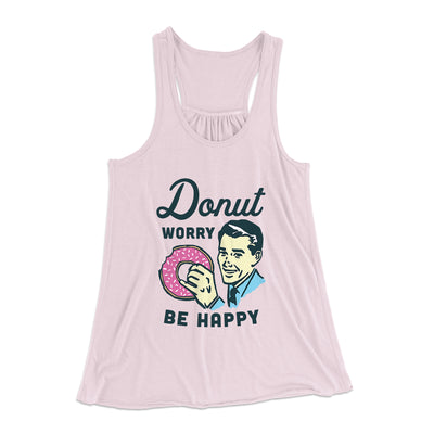 Donut Worry Be Happy Women's Flowey Racerback Tank Top-Soft Pink - Famous IRL