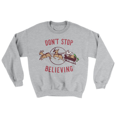 Don't Stop Believing Men/Unisex Ugly Sweater-Sport Grey - Famous IRL