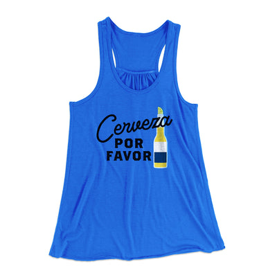 Cerveza, Por Favor Women's Flowey Tank Top-Women's Flowey Racerback Tank Top-White Label DTG-True Royal-XS-Famous IRL