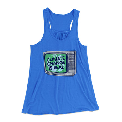 PSA: Climate Change is Real Women's Flowey Racerback Tank Top-True Royal - Famous IRL