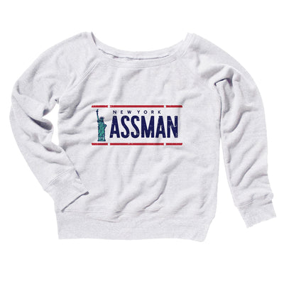 Assman Women's Off The Shoulder Sweatshirt-White - Famous IRL