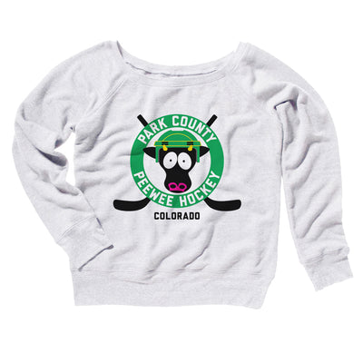 Park County Peewee Hockey Women's Off The Shoulder Sweatshirt-White - Famous IRL