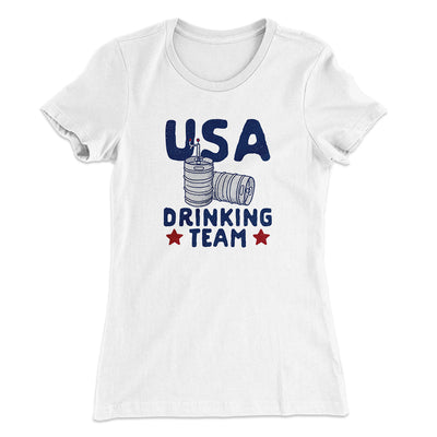 USA Drinking Team Women's T-Shirt-Solid White - Famous IRL