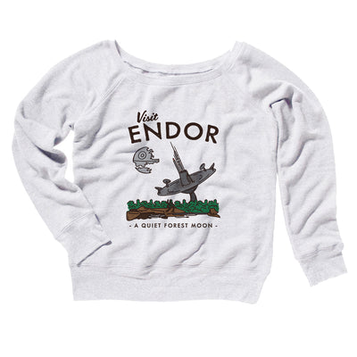 Visit Endor Women's Off The Shoulder Sweatshirt-White - Famous IRL
