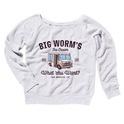 Big Worm Ice Cream Women's Off The Shoulder Sweatshirt - Famous IRL Funny and Ironic T-Shirts and Apparel