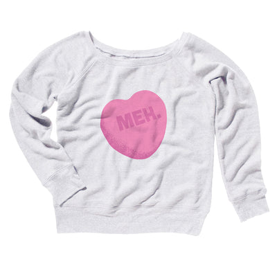 Meh. Candy Heart Women's Off The Shoulder Sweatshirt-White - Famous IRL