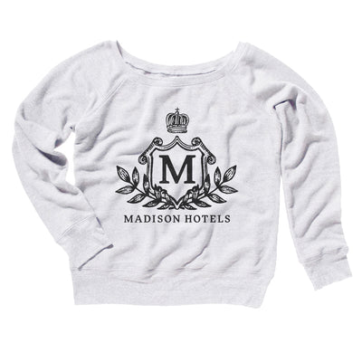 Madison Hotels Women's Off The Shoulder Sweatshirt-White - Famous IRL
