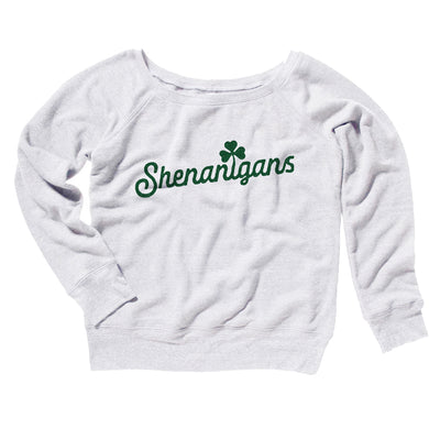 Shenanigans Women's Off The Shoulder Sweatshirt-Women's Off The Shoulder Sweatshirt-White Label DTG-White-S-Famous IRL