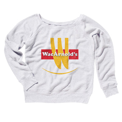 WacArnold's Women's Scoopneck Sweatshirt-Women's Off The Shoulder Sweatshirt-White Label DTG-White-S-Famous IRL