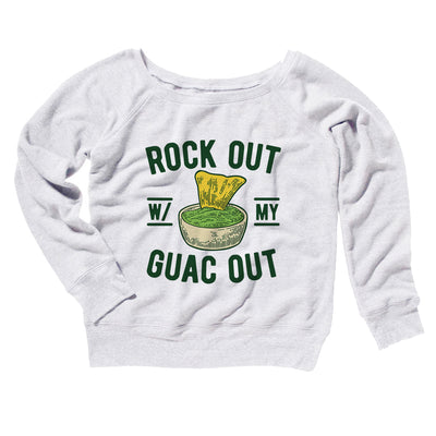 Rock Out With My Guac Out Women's Off The Shoulder Sweatshirt-White - Famous IRL