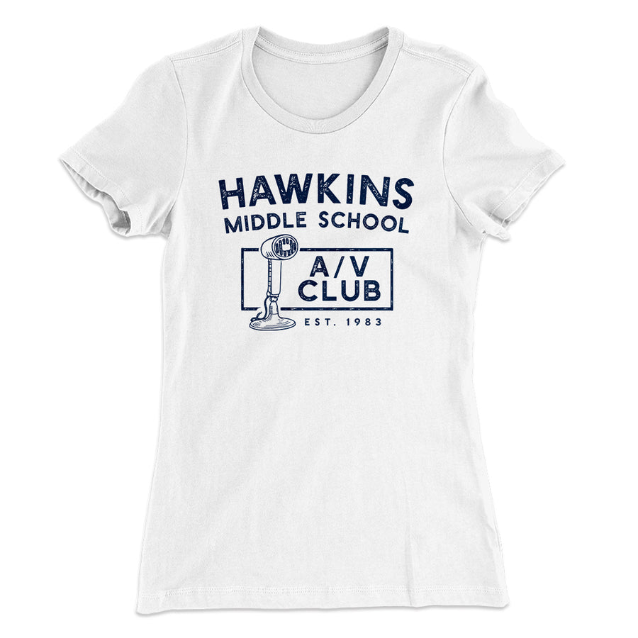 bf305023 Hawkins Middle School A/V Club Women's T-Shirt-Solid White - Famous